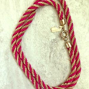Vineyard Vines pink & gold twist necklace